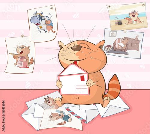 Fotobehang Babykamer Illustration of a Cute Cat. Cartoon Character