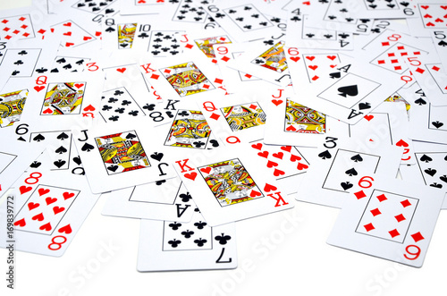 many Poker cards white close up photo Poster