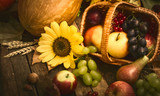Autumn fruits in the basket