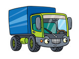 Funny small lorry with eyes.