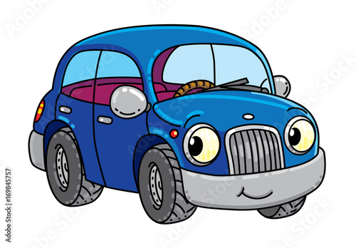 Fotobehang Auto Funny small car with eyes.