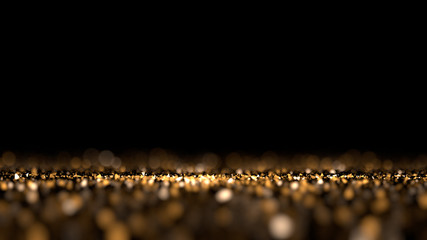 Glitter black isolated background. 3d illustration, 3d rendering.