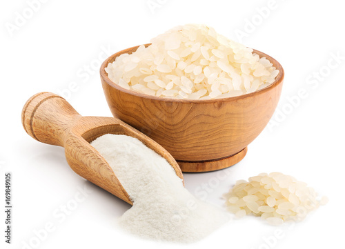Rice flour isolated on white background