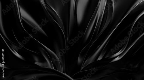 Black background with 3d shape. 3d illustration, 3d rendering.