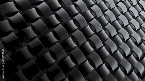 Black background with weaving. 3d illustration, 3d rendering.