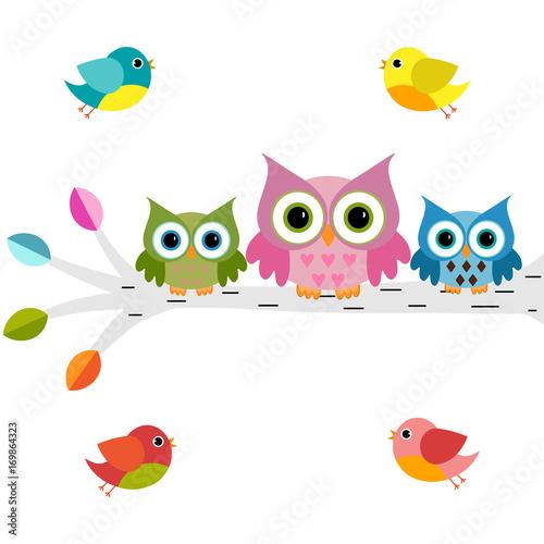 Fotobehang Uilen cartoon owls on a branch with birds