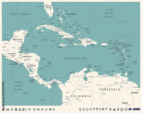 Central America Map - Vintage Vector Illustration | Buy Photos | AP ...