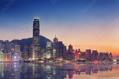 Hong Kong island and business downtown at twilight scene Poster
