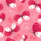 Seamless cute butterflies pattern, vector illustration.
