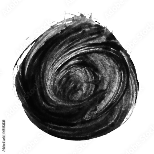 Fotobehang Abstractie Black watercolor circle brush ink