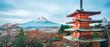 Leinwanddruck Bild - Mount Fuji, Chureito Pagoda in Autumn