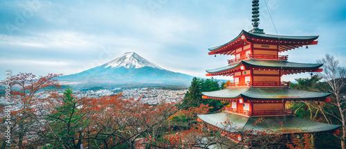 Leinwanddruck Bild Mount Fuji, Chureito Pagoda in Autumn