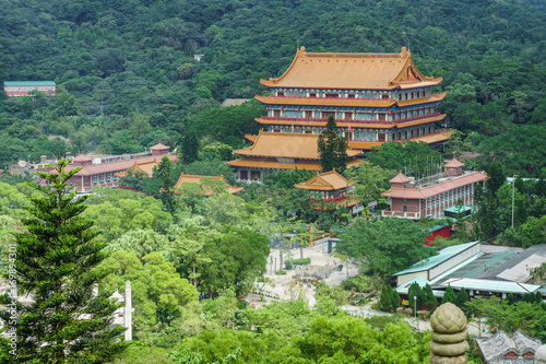 View of Po Lin Buddhist Monastery from afar Poster