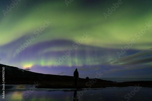 Aluminium Noorderlicht Watching northen lights