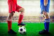 red team versus blue team in the stadium of soccer football