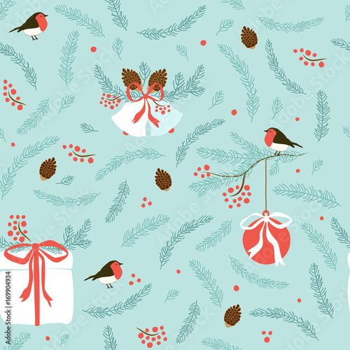 Cotton fabric Cute hand drawn winter holidays seamless pattern