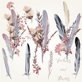 Collection of fashion feathers in pink color  for save the date card - 169906517