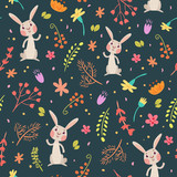 Rabbits in forest cute seamless pattern