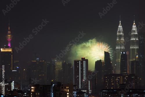KUALA LUMPUR, MALAYSIA - 31ST AUGUST 2017; Fireworks show at Kuala Lumpur city centre during 60th Malaysia Hari Merdeka Celebration (Independence Day) Poster