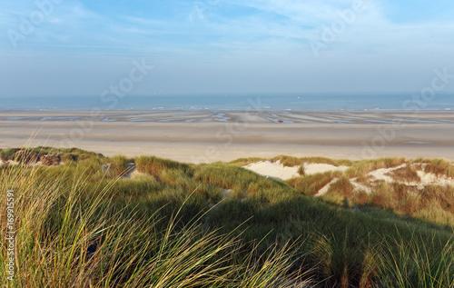 Aluminium Blauwe hemel dunes de sable de la côte picarde