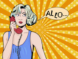 Pop art vintage comic. Girl talking on the phone. Retro style. Bubble for text. Technology and communication