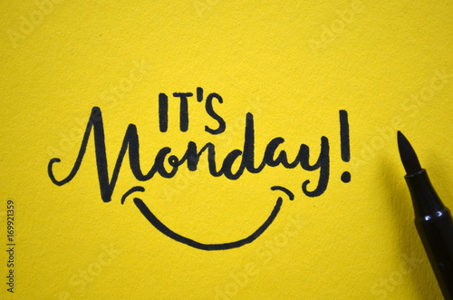 IT'S MONDAY hand lettered on yellow background