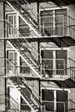 Exterior of a building with old fire escape in  New York City - 169925927