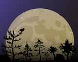 The forest on the background of the yellow moon. Dark blue night sky and bird.