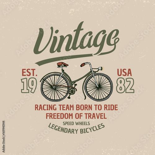 Foto op Canvas Scooter bicycle, bike or velocipede. travel illustration. logo emblem or label, engraved hand drawn in old sketch and vintage transport. Print on T-shirts.