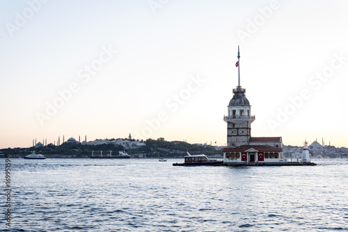 Maiden's Tower on Sunset in Istanbul Bosphorus Poster