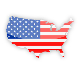 United States Flag Country Contour Vector Icon