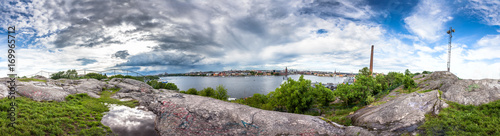 Aluminium Stockholm Skinnarviksberget is highest natural point in central Stockholm and popular place for picnics. 360 degree Panoramic montage from 31 images