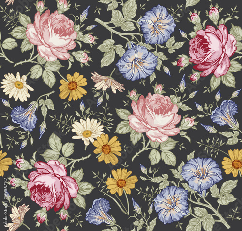 Seamless pattern. Beautiful pink blooming realistic isolated flowers. Vintage background. Chamomile Rose Petunia wildflowers. Wallpaper. Drawing engraving. Vector victorian Illustration. - 169967137