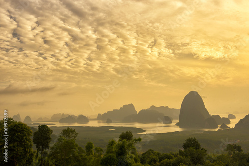 Papiers peints Beige Nature landscape mountain and river in sunrise morning