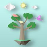 Paper Origami Concept.
