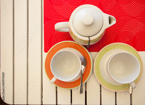 two teacups and teapot Poster