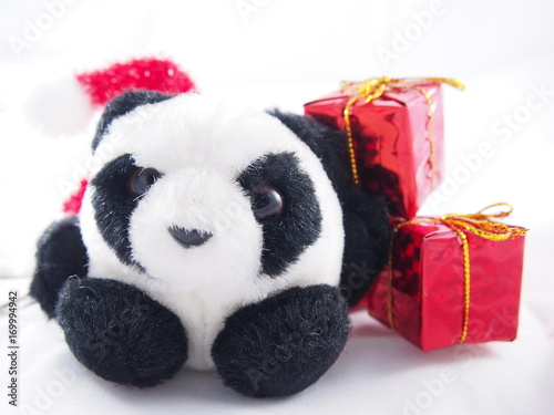 Aluminium Panda Fat soft panda doll, only alone with red gift box, christmas day