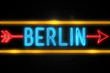 Berlin  - fluorescent Neon Sign on brickwall Front view