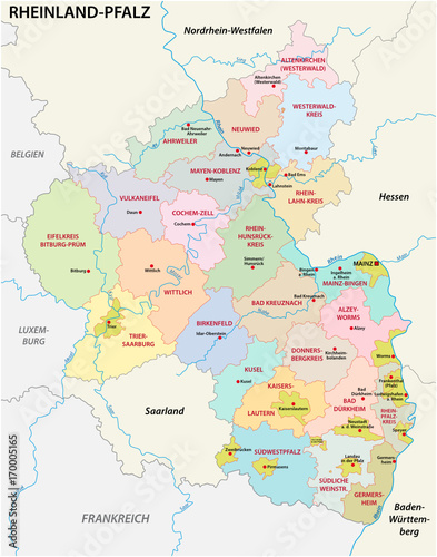 administrative and political map of the state of Rhineland-Palatinate in german language - 170005165
