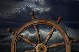 Steering wheel and storm waves 3d illustration - 170005548