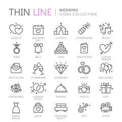 Collection of wedding thin line icons