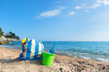 Beach bag and toys at the beach
