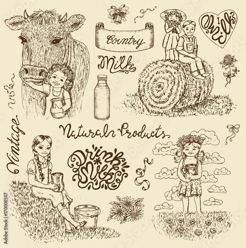 Foto op Canvas Wit Vintage design set with kids drinking milk and lettering. Hand drawn design illustrations