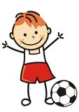Boy and soccer ball, vector illustration