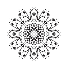 Simple geometric mandala, patterned Indian paisley. vector illustration