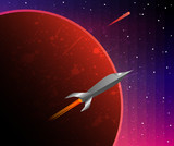 A space odyssey. Cosmos, red planet and space ship. Colorful sci-fi background. Vector illustration