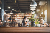 Empty wooden table space platform and blurry defocused restaurant interior, Vintage tone - 170018701