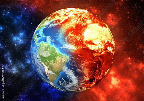 Planet Earth burning, global warming concept. Elements of this image furnished by NASA