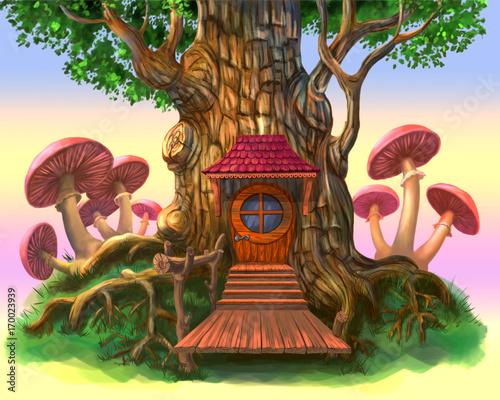 bajkowy-domek-w-drzewie,-grzyby,-plakat,-tapeta