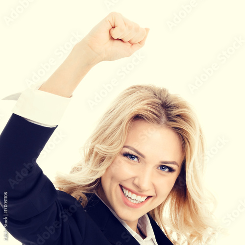 Happy gesturing young cheerful businesswoman